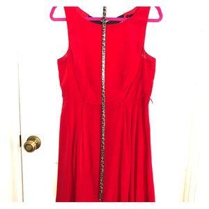 Red black cheetah print belt mini dress
